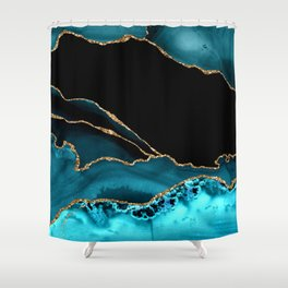 Teal Blue And Gold Glitter Veins Agate Shower Curtain