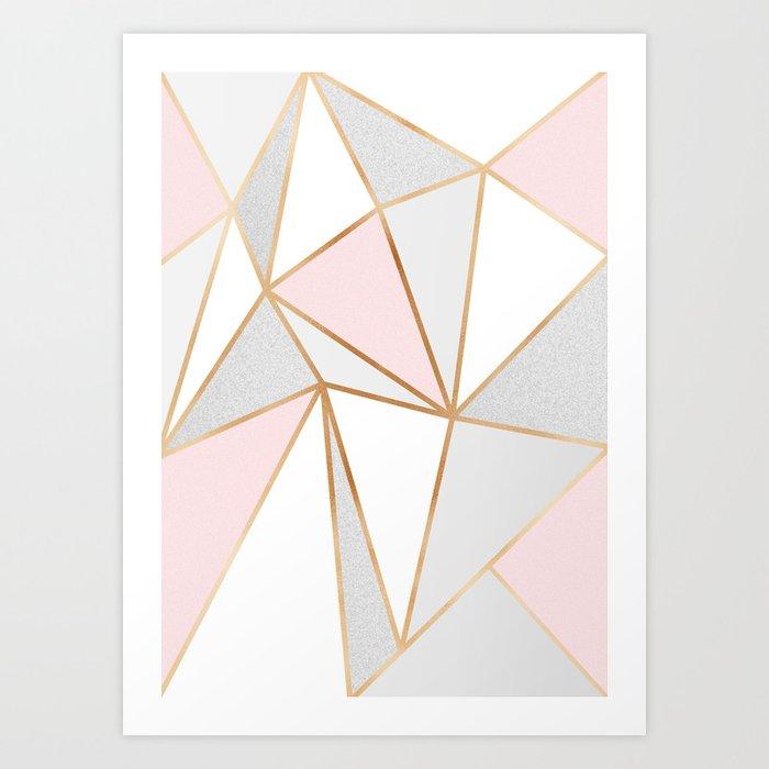 Pink, Grey & Gold Geo Kunstdrucke