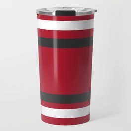 Red and Gray Bold Sport Jersey Stripes Travel Mug