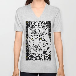 ANIMAL PRINT CHEETAH LEOPARD D  INCOGNITO BLACK AND WHITE AND YELLOW Unisex V-Neck