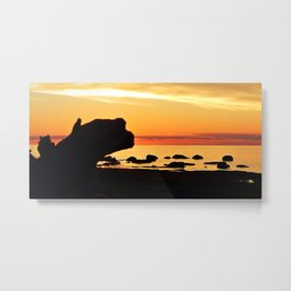 Silhouettes by the Sea at Sunset Metal Print
