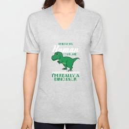 """This Is My Human Costume I'Really A Dinosaur"" T-rex inspired tee for pre-historic animal lovers! Unisex V-Neck"
