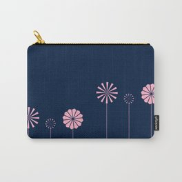 Pink Flowers at Night Pattern Carry-All Pouch