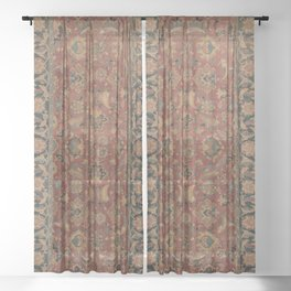 Flowery Boho Rug I // 17th Century Distressed Colorful Red Navy Blue Burlap Tan Ornate Accent Patter Sheer Curtain