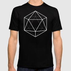 Icosahedron Pattern Bright Blue X-LARGE Black Mens Fitted Tee