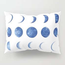 Blue Moon Phases | Watercolor Painting Pillow Sham