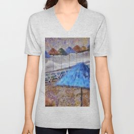 Beach Umbrellas In Impressionist Style Unisex V-Neck
