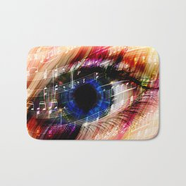music backgroun abstract eye with the notes of a waltz Bath Mat