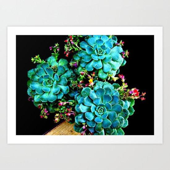 Beautiful Autumn plant green, blue Art Print