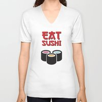 sushi V-neck T-shirts featuring Sushi by flydesign
