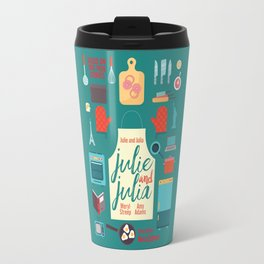 Julie and Julia, minimal movie poster, Meryl Streep, Amy Adams, Nora Ephron film, Julia Child, cook Travel Mug