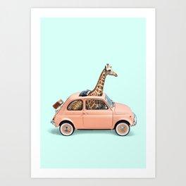GIRAFFE CAR Art Print