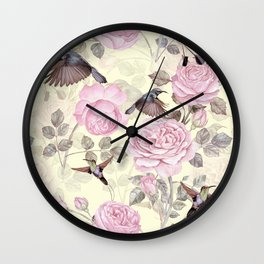 Vintage & Shabby Chic - Lush pastel roses and hummingbird pattern Wall Clock