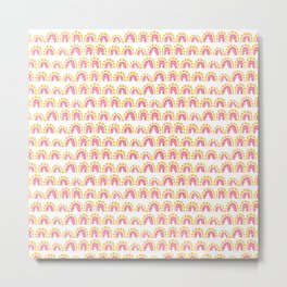 Abstract geometric pink yellow hand painted pattern Metal Print
