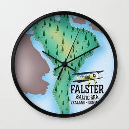 Falster Island Denmark travel poster. Wall Clock