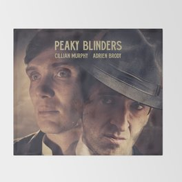 Peaky Blinders poster, Cillian Murphy is Thomas Shelby, Adrien Brody is Luca Changretta Throw Blanket