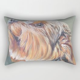 A realistic Yorkshire Terrier Portrait by L.A.Shepard fine art painting Rectangular Pillow