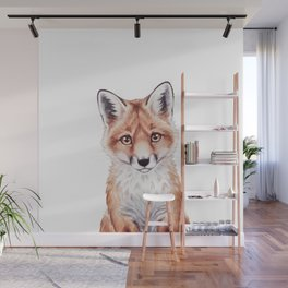 Baby Fox, Woodland Baby Animals, Forest Nursery Decor Childrens Room Art Wall Mural