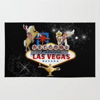 las vegas Area & Throw Rugs featuring Las Vegas Welcome Sign by Gravityx9
