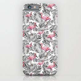 TROPICAL LEAVES AND FLAMINGOS 2 iPhone Case