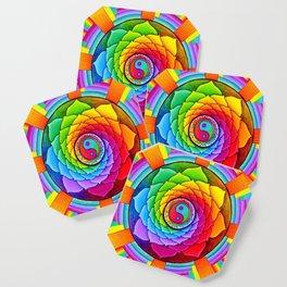 Healing Lotus Rainbow Yin Yang Mandala Coaster