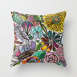 For The Love Of Flowers Throw Pillow