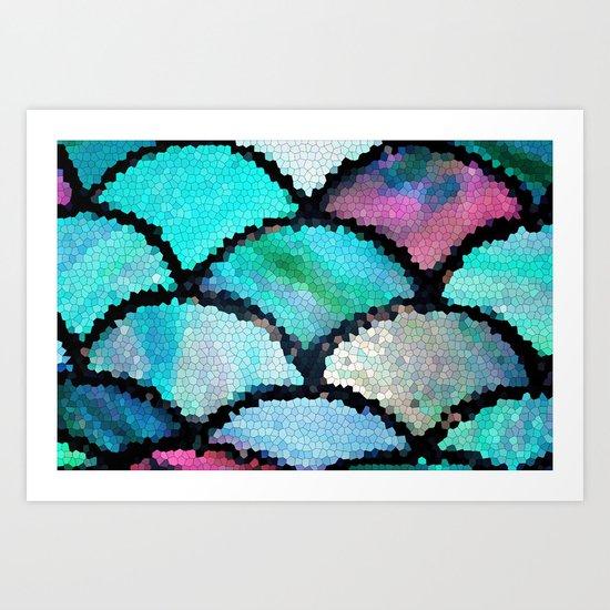 turquoise mosaic Art Print