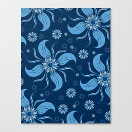 Floral Obscura Dark Blue Canvas Print
