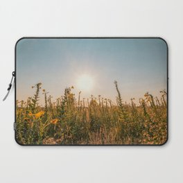 Uncultivated field in the Lomellina countryside at sunset full of yellow flowers Laptop Sleeve