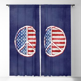 Watercolor Patriot Peace Symbol Stars and Stripes USA Flag Blackout Curtain
