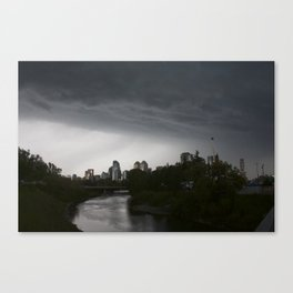 Storm clouds over Calgary and the Stampede grounds Canvas Print