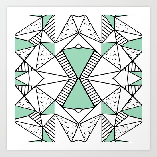 Ab Lines and Spots Mint Art Print