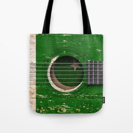 Old Vintage Acoustic Guitar with Pakistani Flag Tote Bag