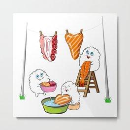 Funny Sushi Washing Day Metal Print