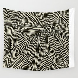 Black and Ivory Triangles Wall Tapestry