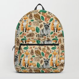 Woodland Creatures Illustrated Watercolor Pattern Backpack