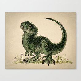 """Baby T-Rex"" by Amber Marine ~ watercolor and ink, (Copyright 2013) Canvas Print"