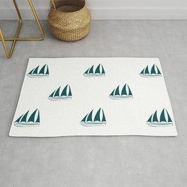 Teal Blue Sailboat Pattern Rug