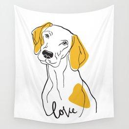 Dog Modern Line Art Wall Tapestry