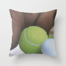 Sports Love Variety of Balls Throw Pillow