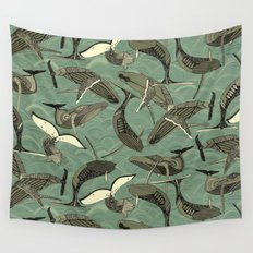 whales and waves aqua Wall Tapestry