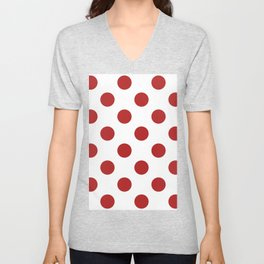 Large Polka Dots - Firebrick Red on White Unisex V-Neck