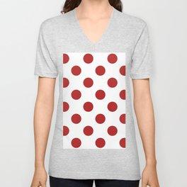 Large Polka Dots - Firebrick Red on White Unisex V-Neck