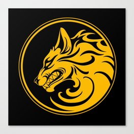 Yellow and Black Growling Wolf Disc Canvas Print