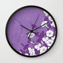 White Morning Glory Flowers with Purple Accents Wall Clock