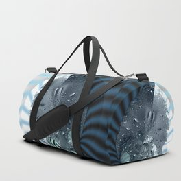 Metallic shine on a yin yang type fractal form Duffle Bag