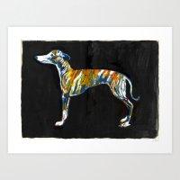 greyhound Art Prints featuring Greyhound by Julianna Brion ~ Illustration