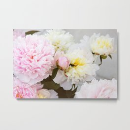 Peony bouquet photo. Pink and white flowers Metal Print