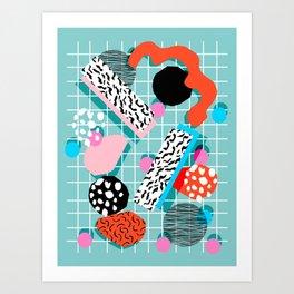 The 411 - wacka abstract memphis grid throwback retro cool neon 80s style minimal mixed media Art Print