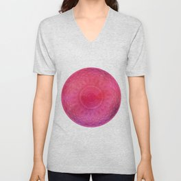 Watercolor Mandala Painting Red Pink Unisex V-Neck
